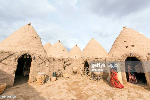 woman walking in front of mud brick house of harran - şanlıurfa stock pictures, royalty-free photos & images