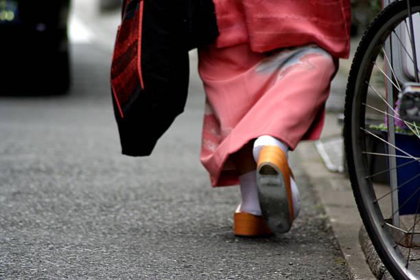 Woman walking in Kimono
