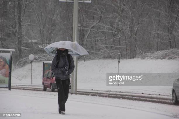 雪だるまの中を歩いている女性 - オランダ リンブルフ州 ストックフォトと画像