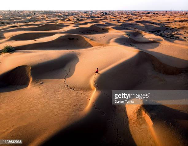 woman walking in the desert aerial view - desert stock pictures, royalty-free photos & images