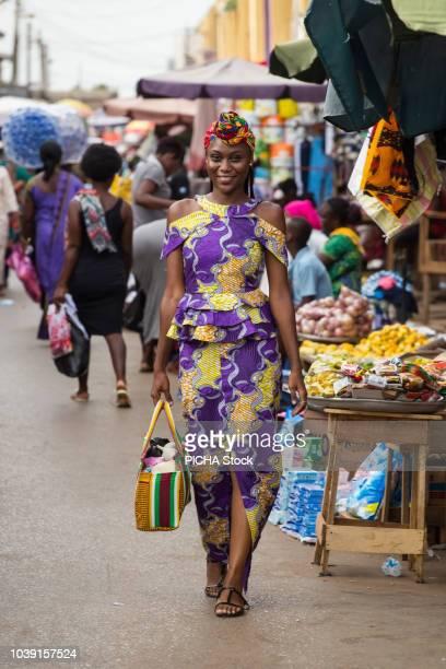 Woman walking in the market
