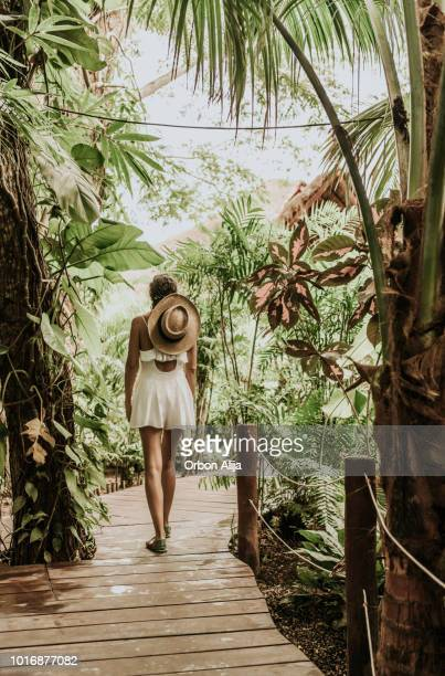 vrouw lopen in het regenwoud - lagune stockfoto's en -beelden