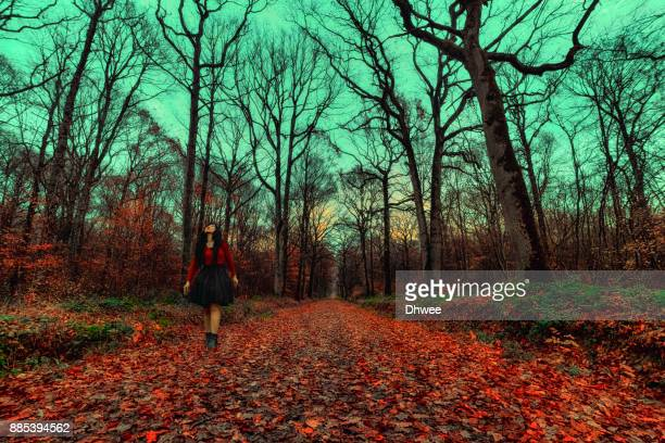 Woman Walking In Vibrant Autumn Forest