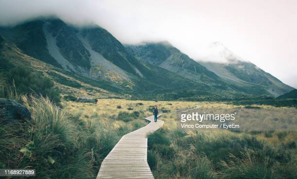 woman walking on boardwalk leading towards mountains against sky - fare da guida foto e immagini stock