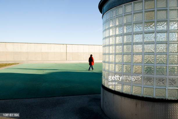 Woman Walking On Rooftop
