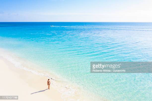 woman walking on sand beach, caribbean, antilles - antigua & barbuda stock pictures, royalty-free photos & images