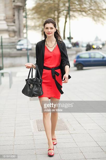 Woman walking on street