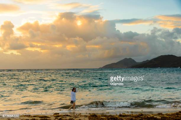 woman walking on the beach in the early morning. - st. kitts stock photos and pictures
