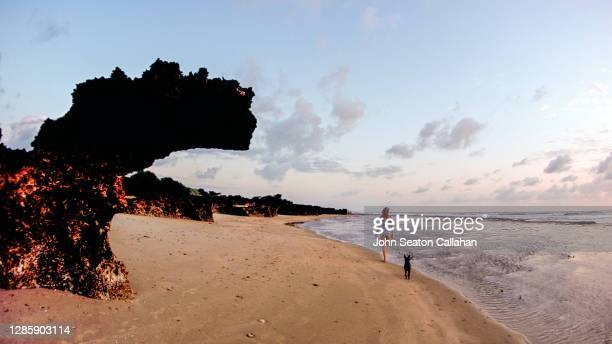 woman walking on the beach on manda island - mombasa stock pictures, royalty-free photos & images