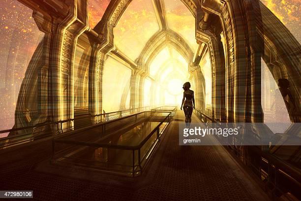 Woman walking on the space bridge, Universe, Energy