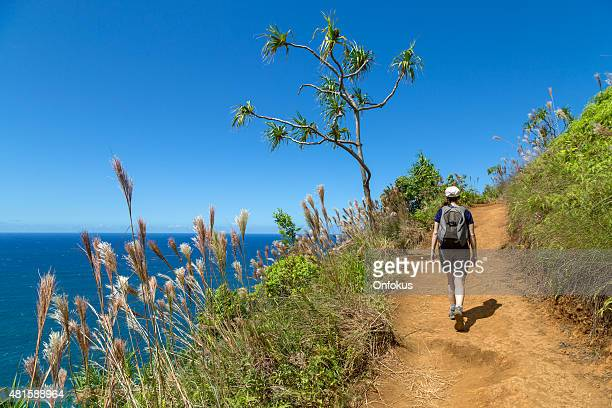 woman walking the kalalau trail, napali coast state park, kauai - na pali coast stock photos and pictures