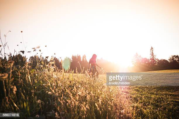 woman walking through meadow at sunset - back lit stock pictures, royalty-free photos & images