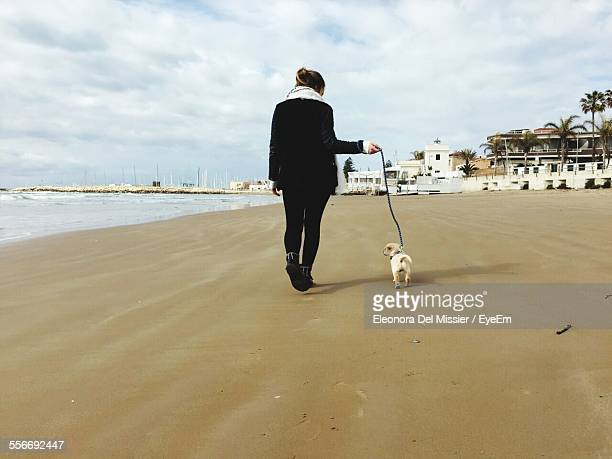 Woman Walking With Dog On Beach