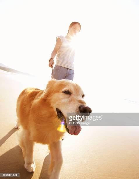 Woman Walking With Golden Retriever At Beach