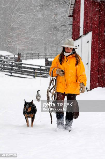 Woman Walking With Her Dog On Snowy Landscape
