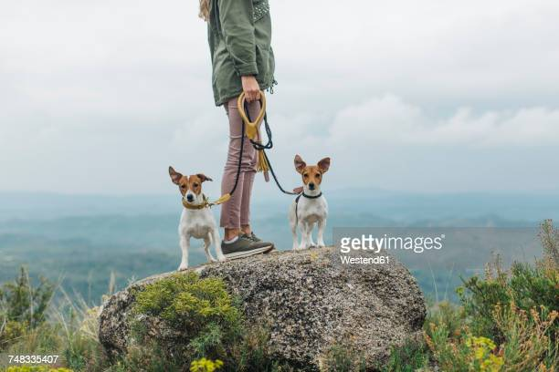 Woman walking with her two dogs