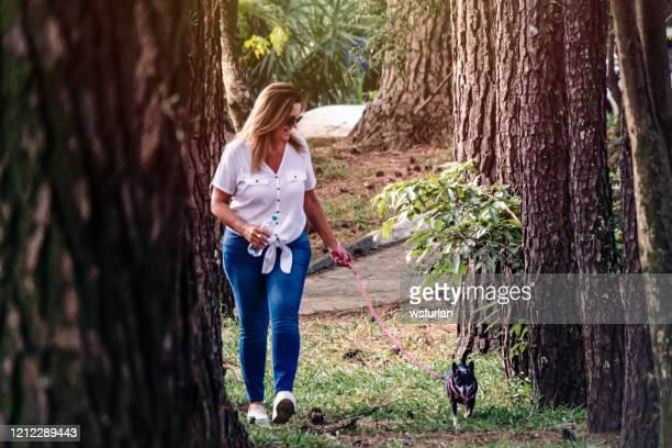 mulher andando com o cachorrinho - animal doméstico - fotografias e filmes do acervo
