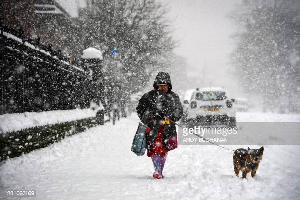 Woman walks a dog through the snow in Glasgow on February 9, 2021. - Cold weather swept across northern Europe bring snow and ice.