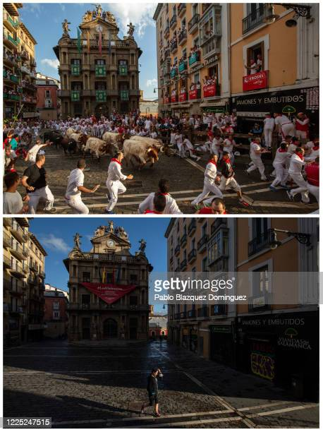 In this beforeandafter composite image **TOP IMAGE** PAMPLONA SPAIN JULY 08 Revellers run with Cebada Gagos's fighting bulls before at Plaza...