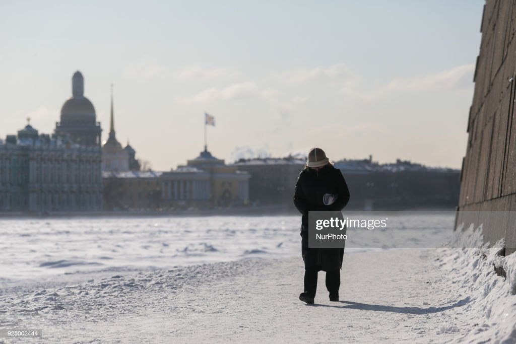 Heavy frozen in russia photos and images getty images a woman walks along the embankment of the neva river during a severe frost in st publicscrutiny Gallery