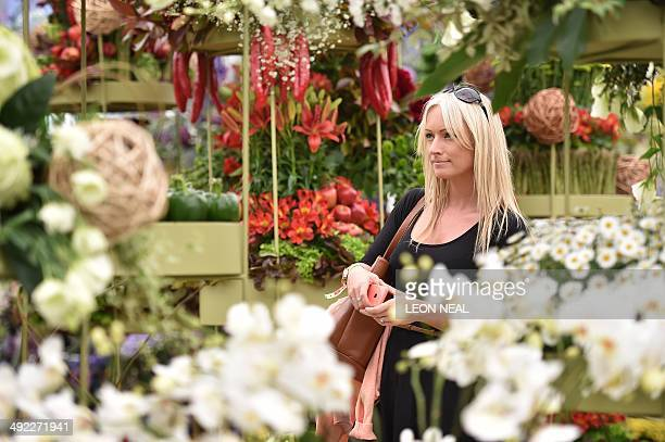 A woman walks among the displays inside the pavillion at the Chelsea Flower Show in west London on May 19 2014 The Chelsea flower show held annually...