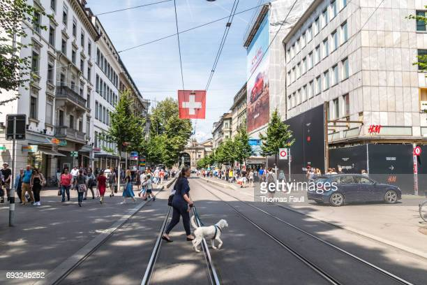 woman walks dog in city centre of zurich - zurich stock pictures, royalty-free photos & images