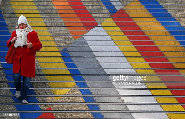 A woman walks down colored steps of the Albertina museum on a cold day in Vienna on December 3 2012 AFP PHOTO / ALEXANDER KLEIN