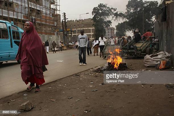 Woman walks down the street in Eastleigh, a predominantly Muslim Somali neighborhood on August 18, 2009 in Nairobi, Kenya. Referred to locally as...