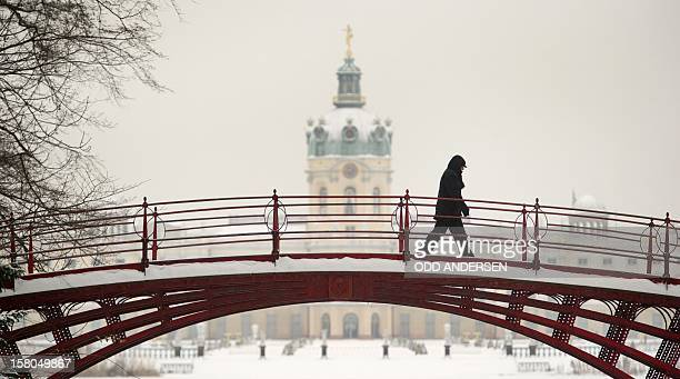 A woman walks during snowfall across a bridge in the Charlottenburg Palace gardens in Berlin December 17 2010 Large parts of Germany are buried under...