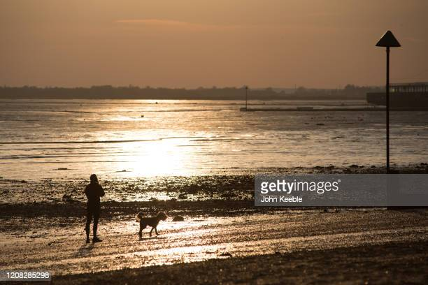 Woman walks her dog along the beach at sunset on March 26, 2020 in Chalkwell, England. British Prime Minister, Boris Johnson, announced strict...