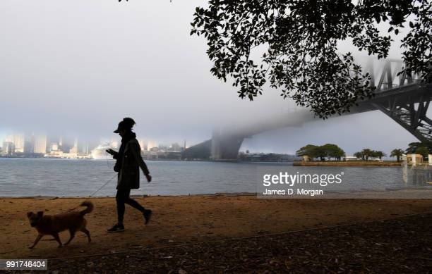 A woman walks her dog as a thick blanket of fog is seen over the Sydney Harbour Bridge on July 5 2018 in Sydney Australia Flights were delayed at...