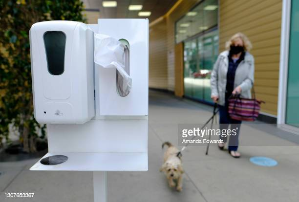 Woman walks her dog near a hand sanitizing station at the Santa Monica Place outdoor shopping center on March 17, 2021 in Santa Monica, California....