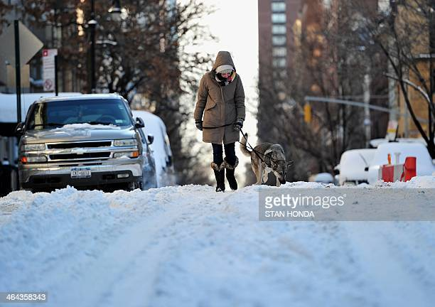 A woman walks her dog on the east side of Manhattan January 22 2014 in New York The northeastern US shivered amid heavy snowfall and far below...