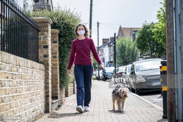 woman walks her dog wearing protective face mask during pandemic - london breed stock pictures, royalty-free photos & images
