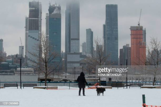 Woman walks her dog with the New York skyline in the background on February 19, 2021 from Weehawken New Jersey. - A fierce and deadly winter storm...
