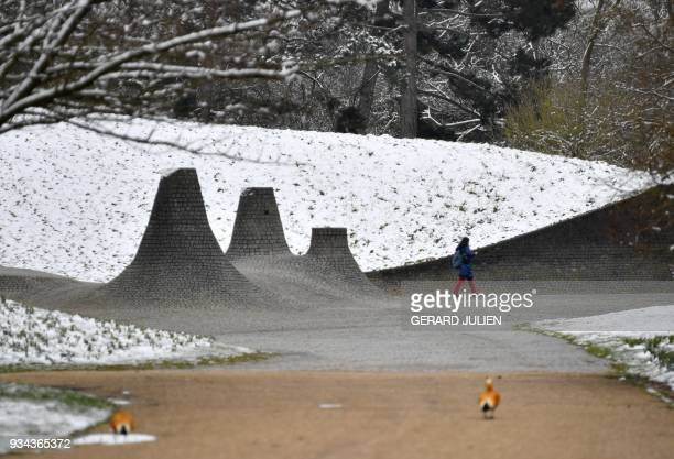 A woman walks in the Floral Park in Vincennes eastern Paris on March 19 2018 / AFP PHOTO / GERARD JULIEN