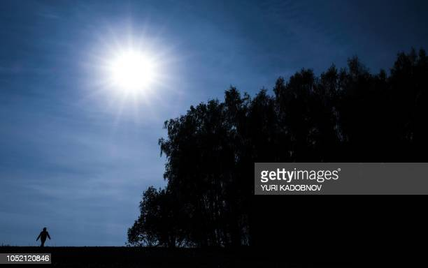 TOPSHOT A woman walks in the sun past a forest edge outside Moscow on October 14 2018