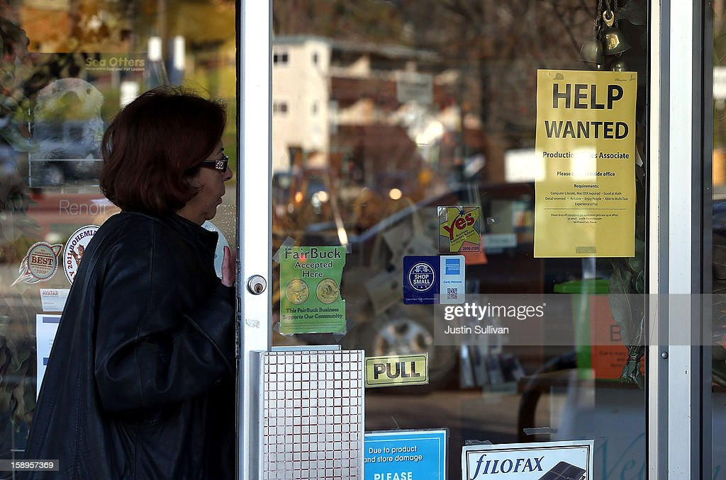 A woman walks into a store with a help wanted sign posted on the door on January 4, 2013 in Fairfax, California. According to a Labor Department December jobs report, the U.S. unemployment remained the same from November at 7.8% as employers added 155,000 jobs in December.
