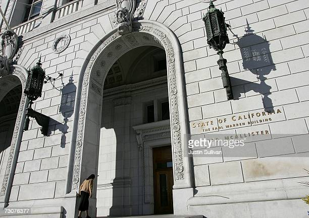 A woman walks into the State of California Earl Warren building January 22 2007 in San Francisco California The US Supreme court threw out...