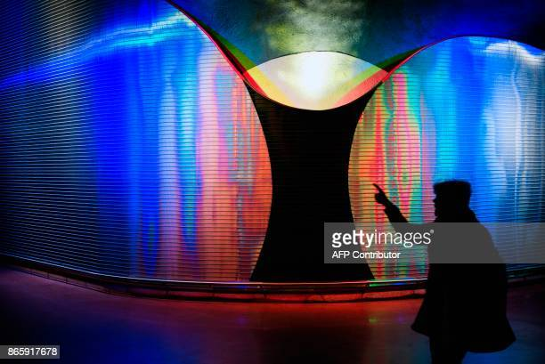 A woman walks next to 'Moaritisk Absorbent' by artist Mikael Paulin located at the new city line station of Stockholm City on October 24 2017 The two...