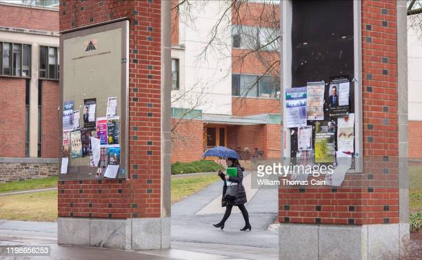 Woman walks on campus at Princeton University on February 4, 2020 in Princeton, New Jersey. The university said over 100 students, faculty, and staff...