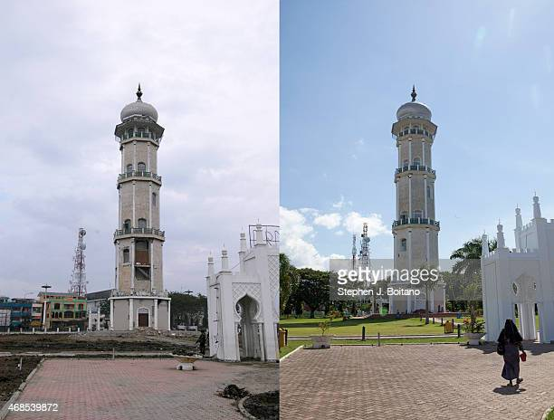 In this composite image a comparison has been made between a scene in 2005 and 2014 BANDA ACEH INDONESIA DECEMBER 12 A woman walks on the grounds of...