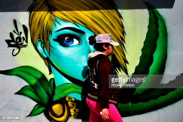 A woman walks past a graffiti in Tenancingo Tlaxcala state Mexico on January 19 2018 The most powerful pimps of Mexico have virtually built walls...