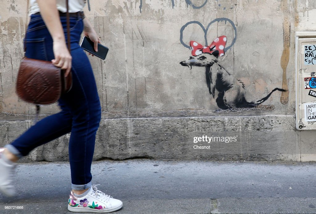 British Graffiti Artist Banksy Puts Up  New Works In Paris : News Photo