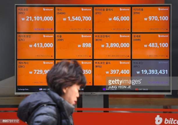A woman walks past a screen showing exchange rates of cryptocurrencies at an exchange in Seoul on December 20 2017 South Korean cryptocurrency...