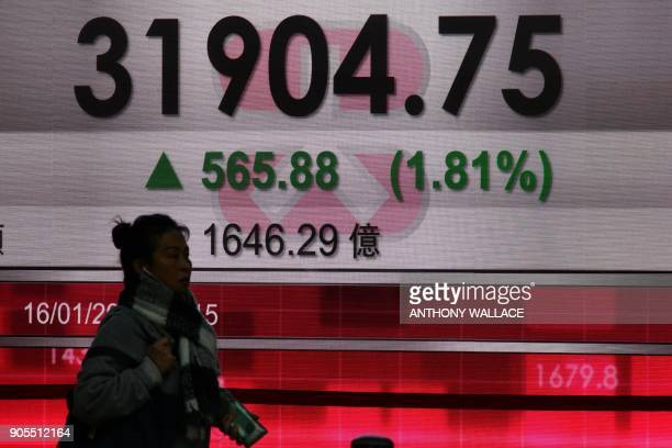 A woman walks past a stocks display board after the Hang Seng Index leapt 181 percent or 56588 points to close at 3190475 in Hong Kong on January 16...