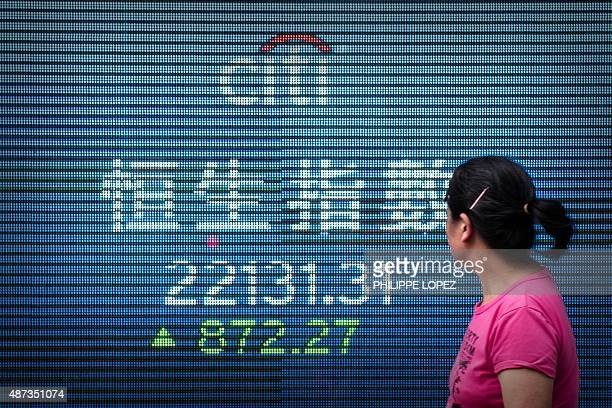 A woman walks past an electronic board displaying the benchmark Hang Seng Index in Hong Kong on September 9 2015 The Hang Seng Index soared 410...
