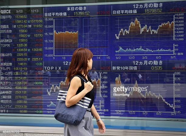 A woman walks past an electronic stock board outside a securities firm in Tokyo Japan on Wednesday Sept 3 2014 Japan's Topix index rose on heavy...