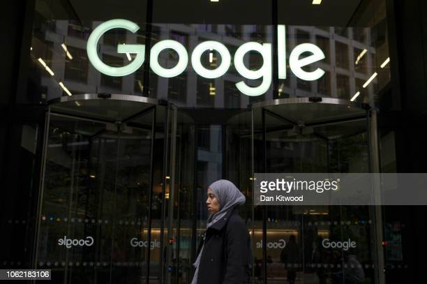 A woman walks past Google's UK Headquarters on November 01 2018 in London England More than 1500 Google employees around the world staged a walkout...