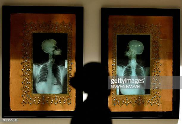 A woman walks past 'Illumination V and VI' by Saudi artist Ahmed Mater alZiad Aseeri at an exhibition set by Christie's in Dubai on April 26 2009 The...
